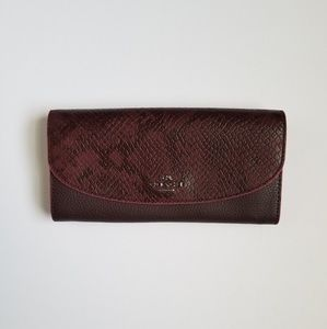 NWT Auth Coach Burgundy Leather Snake  Wallet